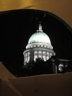 "View of the Capitol at night from tent in ""Walkerville"""